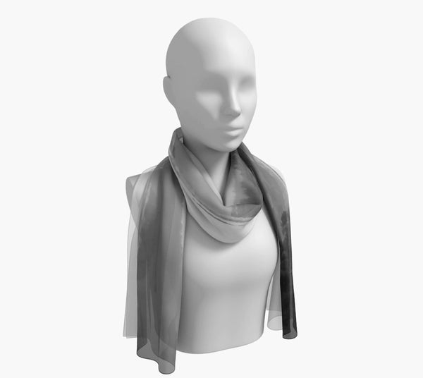 "Pacific Mist Long Scarf  Wear as a scarf, shawl or as a head wrap.  Use for home decor as a wall hanging, also makes fabulous Wedding Party Gifts!    Artwork printed on 100% polyester lightweight fabric.    Choose from three different fabrics polychiffon, satin charmeuse and matte crepe.    Machined baby rolled edge hem finish.  Choose from 2 sizes:    10"" x 45""    16"" x 72"" by Roxy Hurtubise vanislegoddess.com"