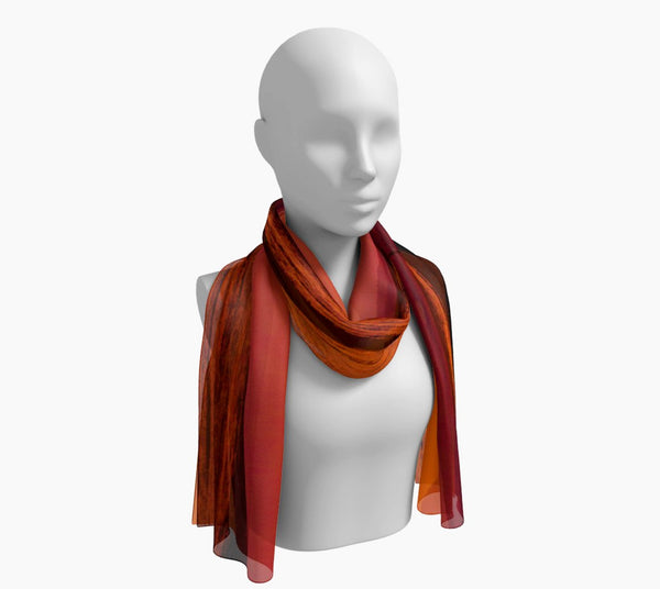 "Saratoga Sunset Long Scarf  Wear as a scarf, shawl or as a head wrap.  Use for home decor as a wall hanging, also makes fabulous Wedding Party Gifts!    Artwork printed on 100% polyester lightweight fabric.    Choose from three different fabrics polychiffon, satin charmeuse and matte crepe.    Machined baby rolled edge hem finish.  Choose from 2 sizes:    10"" x 45""    16"" x 72"" by Roxy Hurtubise vanislegoddess.com"