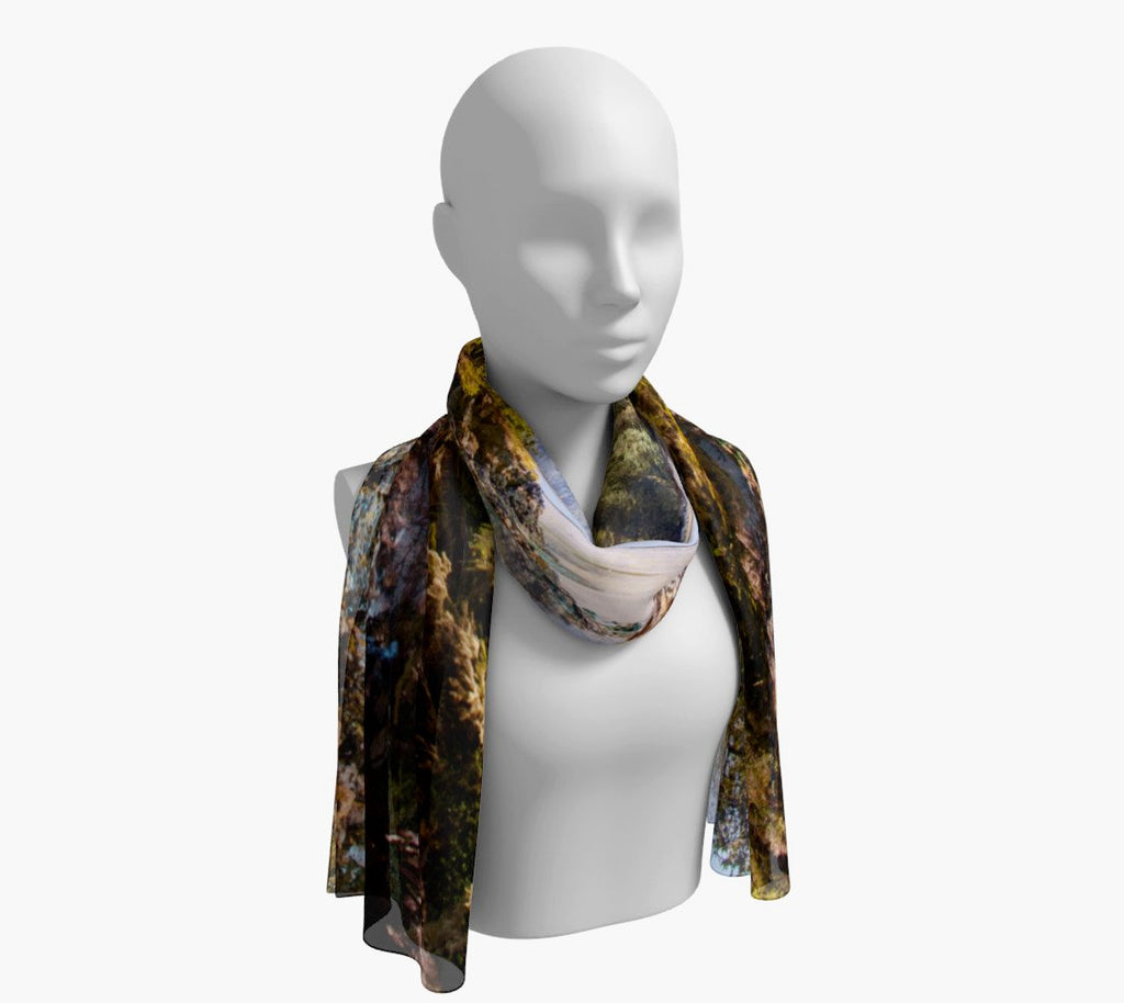 "Tofino Inlet Long Scarf  Wear as a scarf, shawl or as a head wrap.  Use for home decor as a wall hanging, also makes fabulous Wedding Party Gifts!    Artwork printed on 100% polyester lightweight fabric.    Choose from three different fabrics polychiffon, satin charmeuse and matte crepe.    Machined baby rolled edge hem finish.  Choose from 2 sizes:    10"" x 45""    16"" x 72"" by Roxy Hurtubise vanislegoddess.com"