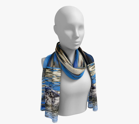"Seal Of Blue Long Scarf  Wear as a scarf, shawl or as a head wrap.  Use for home decor as a wall hanging, also makes fabulous Wedding Party Gifts!    Artwork printed on 100% polyester lightweight fabric.    Choose from three different fabrics polychiffon, satin charmeuse and matte crepe.    Machined baby rolled edge hem finish.  Choose from 2 sizes:    10"" x 45""    16"" x 72"" by Roxy Hurtubise vanislegoddess.com"