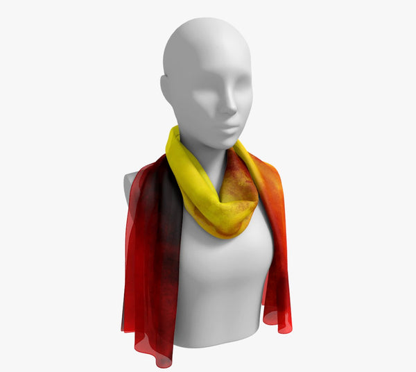 "Sunrise Long Scarf  Wear as a scarf, shawl or as a head wrap.  Use for home decor as a wall hanging, also makes fabulous Wedding Party Gifts!    Artwork printed on 100% polyester lightweight fabric.    Choose from three different fabrics polychiffon, satin charmeuse and matte crepe.    Machined baby rolled edge hem finish.  Choose from 2 sizes:    10"" x 45""    16"" x 72"" by Roxy Hurtubise vanislegoddess.com"