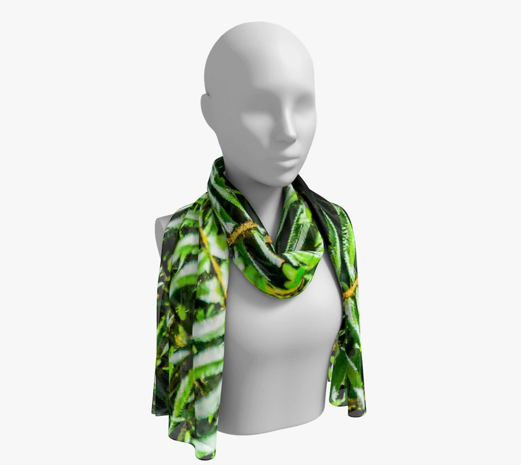 "Rainforest Long Scarf  Wear as a scarf, shawl or as a head wrap.  Use for home decor as a wall hanging, also makes fabulous Wedding Party Gifts!    Artwork printed on 100% polyester lightweight fabric.    Choose from three different fabrics polychiffon, satin charmeuse and matte crepe.    Machined baby rolled edge hem finish.  Choose from 2 sizes:    10"" x 45""    16"" x 72"" by Roxy Hurtubise vanislegoddess.com"