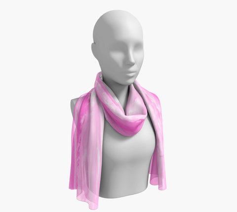"Parksville Beach in Pink Long Scarf  Wear as a scarf, shawl or as a head wrap.  Use for home decor as a wall hanging, also makes fabulous Wedding Party Gifts!    Artwork printed on 100% polyester lightweight fabric.    Choose from three different fabrics polychiffon, satin charmeuse and matte crepe.    Machined baby rolled edge hem finish.  Choose from 2 sizes:    10"" x 45""    16"" x 72"" by Roxy Hurtubise vanislegoddess.com"