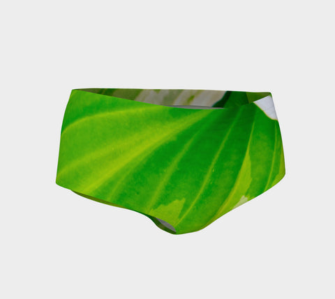 Hosta Green Mini Shorts by Roxy Hurtubise vanislegoddess.com front