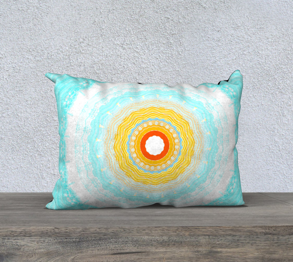 Summer Mandala 20 x 14 Pillow Case by Roxy Hurtubise available in five sizes in velveteen or canvas fabric.