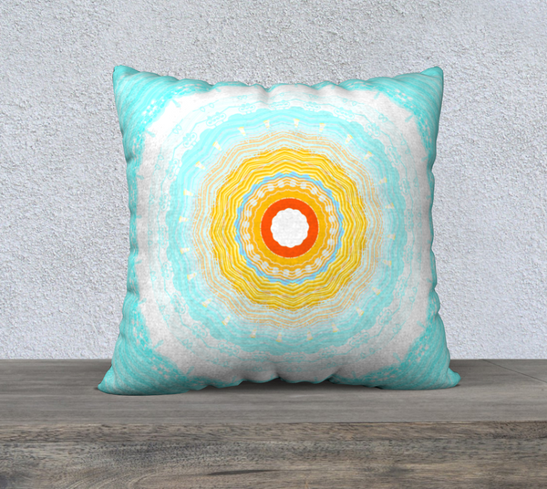 Summer Mandala 22 x 22 Pillow Case by Roxy Hurtubise available in five sizes, velveteen or canvas fabric vnanislegoddess.com