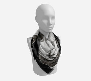 "Dodge Girl Square Scarf  Wear as a scarf or a shawl, use for home decor as a wall hanging, also makes a fabulous Wedding Party Gifts!    Artwork printed on 100% polyester lightweight fabric.  Choose from three different fabrics polychiffon, satin charmeuse and matte crepe.  Machined baby rolled edge hem finish.  Choose from 3 sizes:    16"" x 16""  Perfect size for Men's Pocket Square  26"" x 26""  36"" x 36"" by VanIsleGoddess.Com"