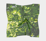 "Canopy of Leaves Square Scarf  Wear as a scarf or a shawl, use for home decor as a wall hanging, also makes a fabulous Wedding Party Gifts!    Artwork printed on 100% polyester lightweight fabric.  Choose from three different fabrics polychiffon, satin charmeuse and matte crepe.  Machined baby rolled edge hem finish.  Choose from 3 sizes:    16"" x 16""  Perfect size for Men's Pocket Square  26"" x 26""  36"" x 36"" by VanIsleGoddess.Com"