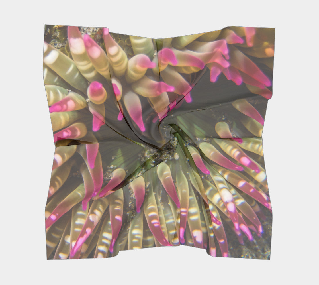 "Enchanted Sea Anemone Square Scarf  Wear as a scarf or a shawl, use for home decor as a wall hanging, also makes a fabulous Wedding Party Gifts!    Artwork printed on 100% polyester lightweight fabric.  Choose from three different fabrics polychiffon, satin charmeuse and matte crepe.  Machined baby rolled edge hem finish.  Choose from 3 sizes:    16"" x 16""  Perfect size for Men's Pocket Square  26"" x 26""  36"" x 36"" by VanIsleGoddess.Com"