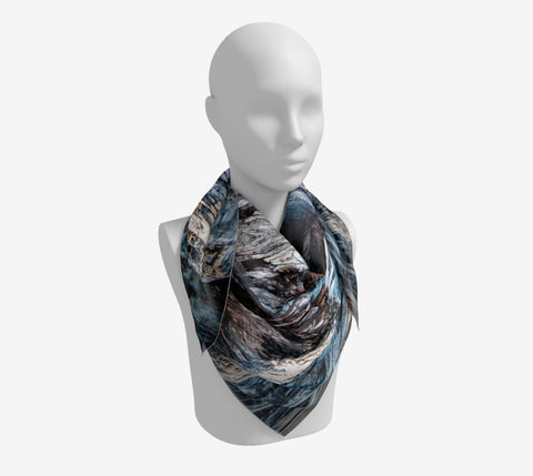 "Driftwood Square Scarf  Wear as a scarf or a shawl, use for home decor as a wall hanging, also makes a fabulous Wedding Party Gifts!    Artwork printed on 100% polyester lightweight fabric.  Choose from three different fabrics polychiffon, satin charmeuse and matte crepe.  Machined baby rolled edge hem finish.  Choose from 3 sizes:    16"" x 16""  Perfect size for Men's Pocket Square  26"" x 26""  36"" x 36"" by Vanislegoddess.com"