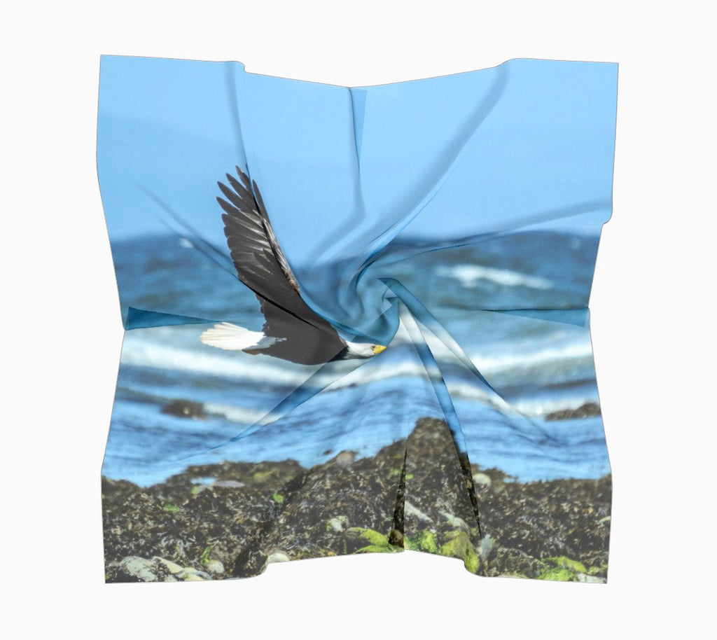 "Fly Like An Eagle Square Scarf  Wear as a scarf or a shawl, use for home decor as a wall hanging, also makes a fabulous Wedding Party Gifts!    Artwork printed on 100% polyester lightweight fabric.  Choose from three different fabrics polychiffon, satin charmeuse and matte crepe.  Machined baby rolled edge hem finish.  Choose from 3 sizes:    16"" x 16""  Perfect size for Men's Pocket Square  26"" x 26""  36"" x 36"" by Vanislegoddess.com"