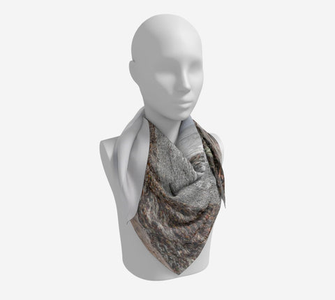 "Gray Day Square Scarf  Wear as a scarf or a shawl, use for home decor as a wall hanging, also makes a fabulous Wedding Party Gifts!    Artwork printed on 100% polyester lightweight fabric.  Choose from three different fabrics polychiffon, satin charmeuse and matte crepe.  Machined baby rolled edge hem finish.  Choose from 3 sizes:    16"" x 16""  Perfect size for Men's Pocket Square  26"" x 26""  36"" x 36"" by vanislegoddess.com"