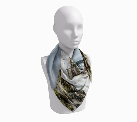 "McKenzie Beach Square Scarf  Wear as a scarf or a shawl, use for home decor as a wall hanging, also makes a fabulous Wedding Party Gifts!    Artwork printed on 100% polyester lightweight fabric.  Choose from three different fabrics polychiffon, satin charmeuse and matte crepe.  Machined baby rolled edge hem finish.  Choose from 3 sizes:    16"" x 16""  Perfect size for Men's Pocket Square  26"" x 26""  36"" x 36"" by VanIsleGoddess.com"