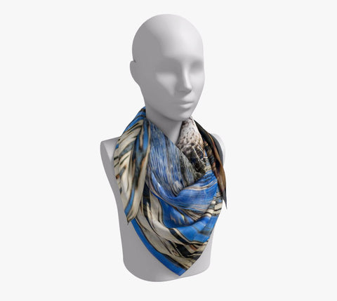 "Seal of Blue Square Scarf  Wear as a scarf or a shawl, use for home decor as a wall hanging, also makes a fabulous Wedding Party Gifts!    Artwork printed on 100% polyester lightweight fabric.  Choose from three different fabrics polychiffon, satin charmeuse and matte crepe.  Machined baby rolled edge hem finish.  Choose from 3 sizes:    16"" x 16""  Perfect size for Men's Pocket Square  26"" x 26""  36"" x 36"" by vanislegoddess.com"