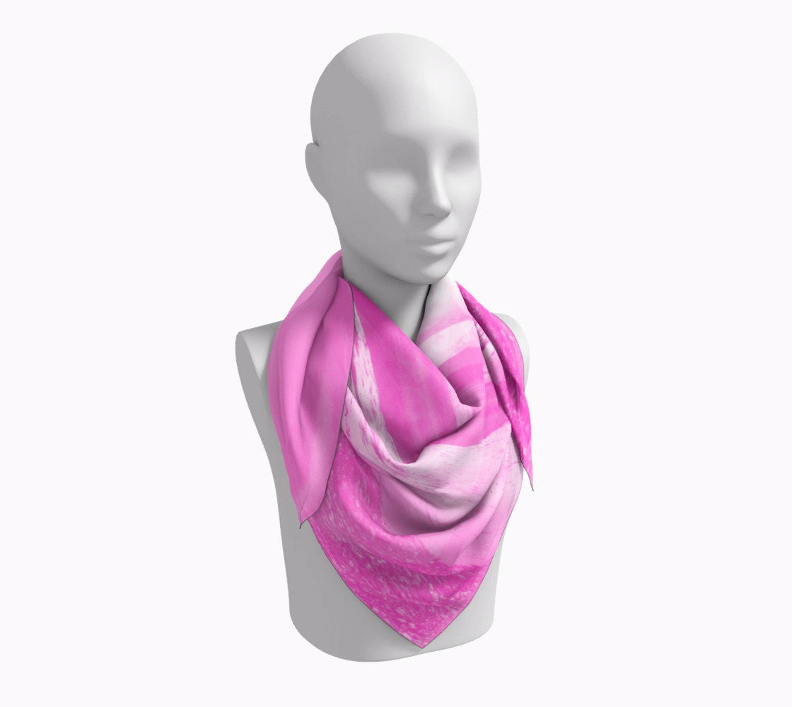 "Parksville Beach in Pink Square Scarf  Wear as a scarf or a shawl, use for home decor as a wall hanging, also makes a fabulous Wedding Party Gifts!    Artwork printed on 100% polyester lightweight fabric.  Choose from three different fabrics polychiffon, satin charmeuse and matte crepe.  Machined baby rolled edge hem finish.  Choose from 3 sizes:    16"" x 16""  Perfect size for Men's Pocket Square  26"" x 26""  36"" x 36"" by vanislegoddess.com"