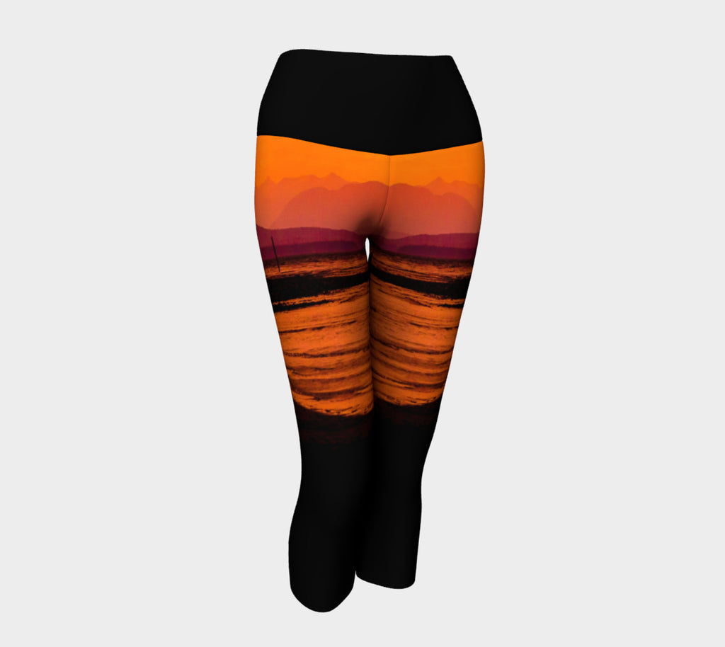 Saratoga Sunset Yoga Capris by Roxy Hurtubise VanIsleGoddess.Com Front