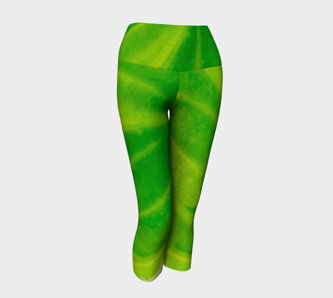 Hosta Green Yoga Capris by Roxy Hurtubise VanIsleGoddess.Com Front