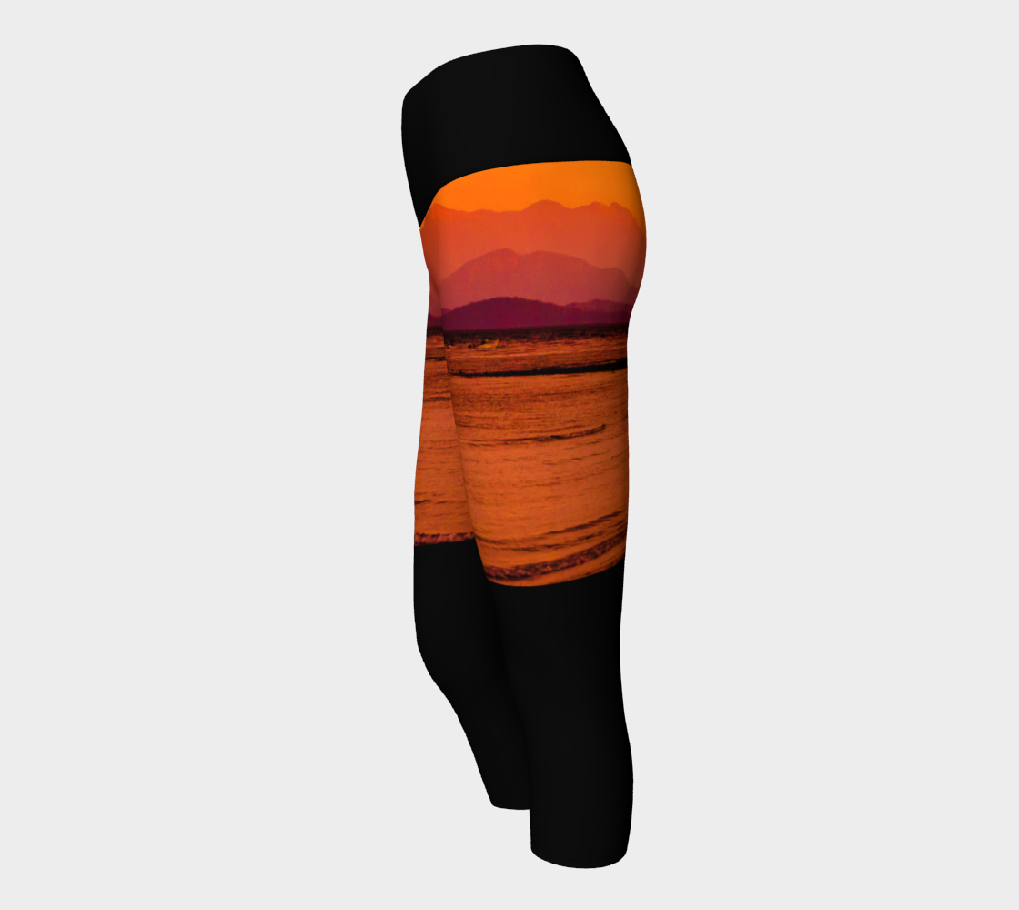 Saratoga Sunset II Yoga Capris by Roxy Hurtubise VanIsleGoddess.Com Side