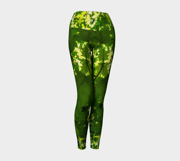 Canopy of Leaves Yoga Leggings by Roxy Hurtubise VanIsleGoddess.Com Front