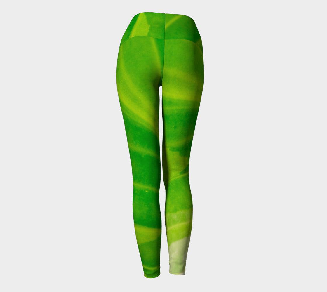 Hosta Green Yoga Leggings by Roxy Hurtubise VanIsleGoddess.Com Back