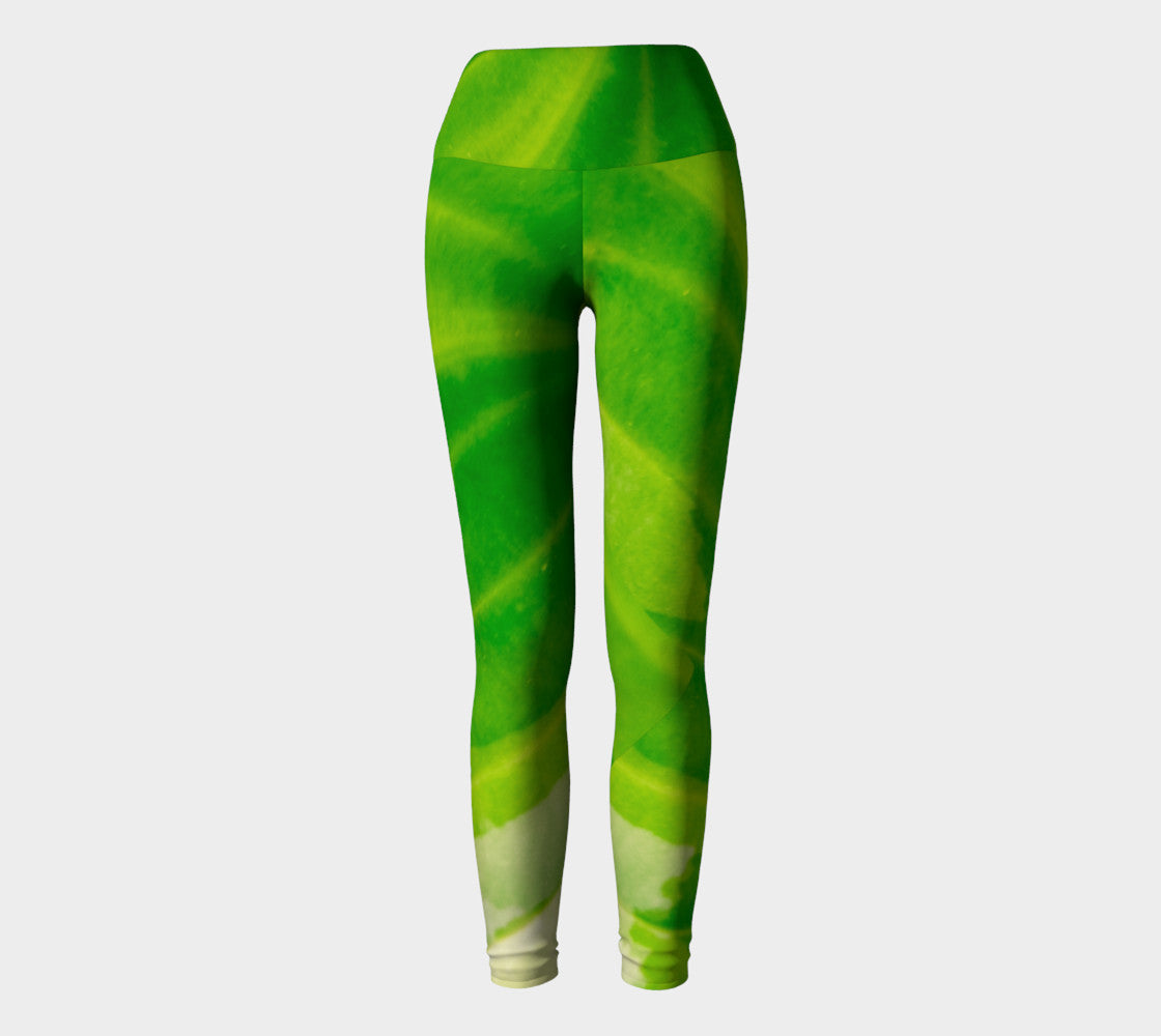 Hosta Green Yoga Leggings by Roxy Hurtubise VanIsleGoddess.Com Full Front