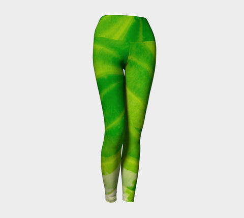 Hosta Green Yoga Leggings by Roxy Hurtubise VanIsleGoddess.Com Front