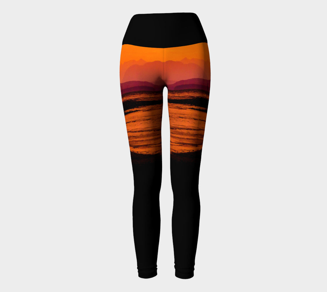 Saratoga Sunset Yoga Leggings By Roxy Hurtubise VanIsleGoddess.Com Full Front