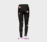 Hearts In the Night Youth Leggings  Van Isle Goddess youth leggings for ages 4 - 12.  Makes a great gift idea from Vancouver Island!