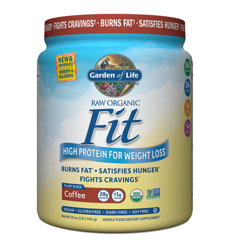 GARDEN OF LIFE, Proteína Raw Fit, Sabor Café, 454 gr.