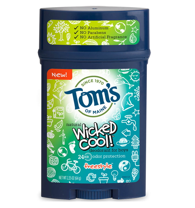 TOM'S OF MAINE, Desodorante para Niño Wicked Cool, Natural, aroma Freestyle, 64 gr.