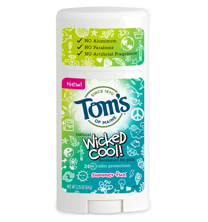 TOM'S OF MAINE, Desodorante para Niña Wicked Cool, Natural, aroma Summer Fun, 64 gr.