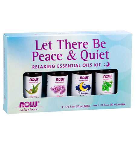 NOW SOLUTIONS, Let There Be Peace & Quiet Relaxing Essential Oils Kit, 1 kit (4 aceites)