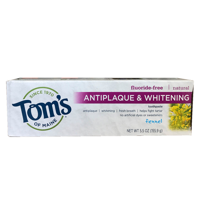 TOM'S OF MAINE, Pasta Dental Antiplaca y Blanqueadora Natural, Sin Fluoruro, Sabor Hinojo, 155.9 gr.
