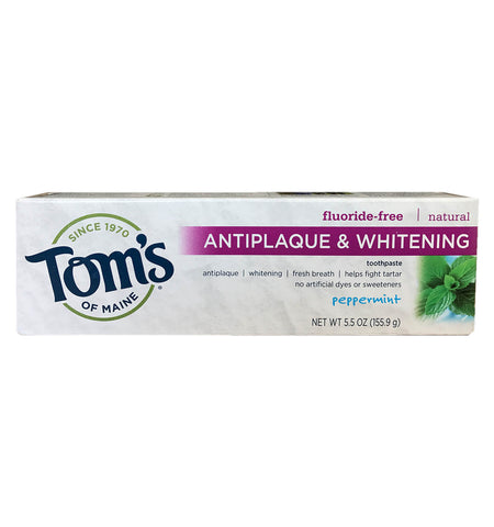 TOM'S OF MAINE, Pasta Dental Antiplaca y Blanqueadora Natural, Sin Fluoruro, Sabor Menta, 155.9 gr.