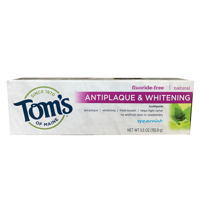 TOM'S OF MAINE, Pasta Dental Antiplaca y Blanqueadora Natural, Sin Fluoruro, Sabor Yerbabuena, 155.9 gr.