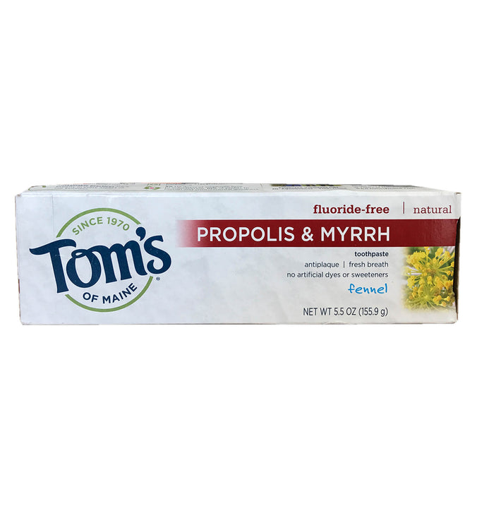 TOM'S OF MAINE, Pasta Dental con Propóleos y Mirra, Sin Floruro, Sabor Hinojo, 155.9 gr.