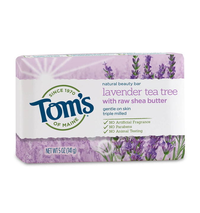 TOM'S OF MAINE, Jabón natural en barra, con Lavanda y Té de Árbol, 142 gr.