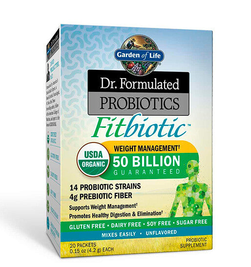 GARDEN OF LIFE, DR. FORMULATED, FITBIOTIC Probióticos 50 billion, 20 sobres