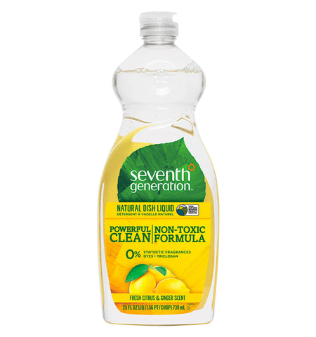 SEVENTH GENERATION, Detergente Natural para Platos, Aroma Cítricos y Jengibre, 739 ml.