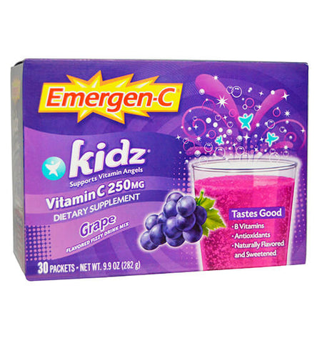 EMERGEN-C KIDZ, Vitamina C en polvo Mix Grape 250 mg, 30 sobres.