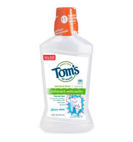TOM'S OF MAINE, Enjuague Bucal Natural, para Niño Anticaries sabor Menta, 473 ml.