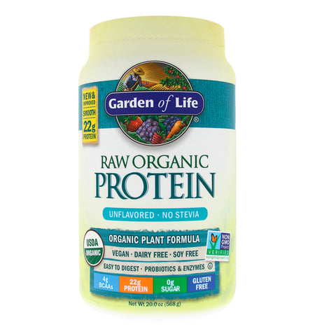 GARDEN OF LIFE, Proteína Raw Vegana, Sabor Natural, 568gr.