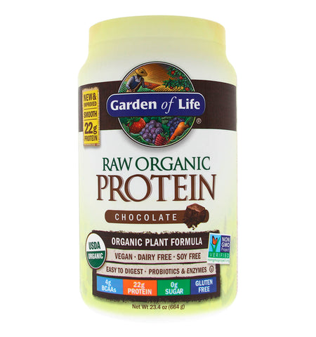 GARDEN OF LIFE, Proteína Raw Vegana, Sabor Chocolate, 664 gr.