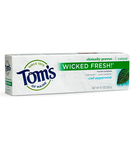 TOM'S OF MAINE, Pasta Dental Wicked Fresh, con Fluoruro, Sabor Cool Peppermint, 133 gr.