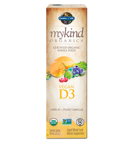 GARDEN OF LIFE, MYKIND, Vitamina D3 en Spray, Sabor Vainilla, 58 ml.
