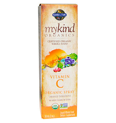 GARDEN OF LIFE, MYKIND, Vitamina C en spray, sabor Naranja Mandarina 58 ml.
