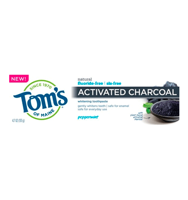TOM'S OF MAINE, Activated Charcoal Toothpaste, Peppermint, sin Fluor