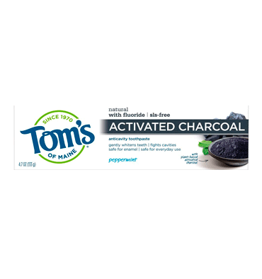 TOM'S OF MAINE, Activated Charcoal Toothpaste, Peppermint, con Fluor