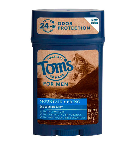 TOM'S OF MAINE, Desodorante Natural para Hombre, Mountain Spring, 64 gr.