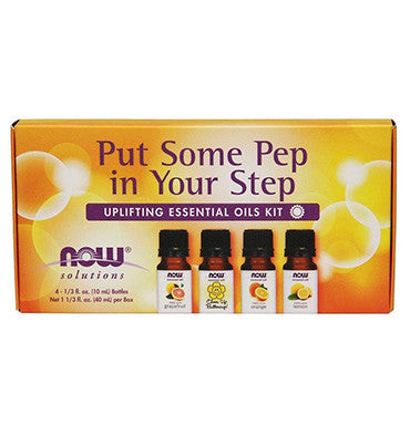 NOW SOLUTIONS, Put Some Pep in Your Step Uplifting Essential Oils Kit, 1 kit 4 aceites
